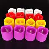 Pick Indiana 24 Pcs cool Bodycolor LED Floral Flameless Tea light Candle Battery-Operated For Wedding Holiday Christmas Party Decoration