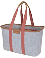 Save on CleverMade SnapBasket LUXE - Reusable Collapsible Durable Grocery Shopping Bag with Reinforced Bottom - Large Heavy Duty Canvas Carryall Tote, Herringbone and more