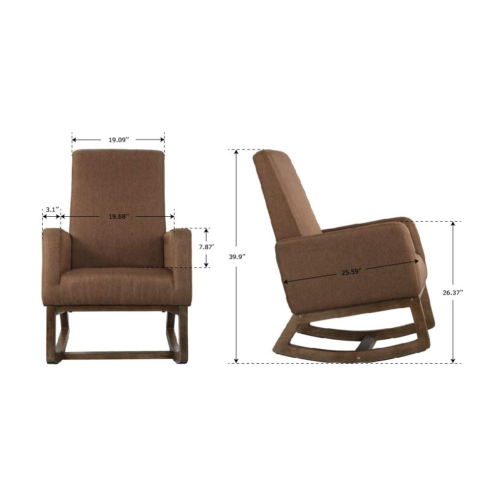 Decors-A Upholstered Rocking Chair High Back Fabric Glider Rocker Accent Armchair w/Wood Frame Feet for Living Room, Bedroom, Espresso