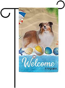 BAGEYOU Welcome Summer My Love Dog Sheltie in The Beach Decorative Garden Flag Lovely Puppy Seastar Shell Volleyball Decor Seasonal Banner for Outside 12.5 x 18 Inch Print Double Sided