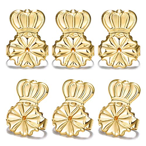 Ear Lifters Stud Earring Backs Gold Plated, 3 Pairs Safety Lobe Support Ear Lifts for Heavy Large Earrings, Drooping Earring Backs