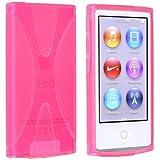 Apple iPod nano 7 デザイン カバー ケース TPU Jelly X Design Case (軽量モデル) アイポッドナノ 2012年 最新モデル 第7世代 iPod nano 7th 対応 + 液晶保護フィルム1枚【Pink X (ピンク)】