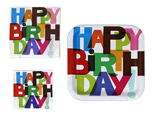 Halmark Party 40 Square Paper Plates And 80 Napkins - Happy Birthday -