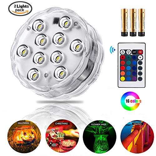 ZHUOFU Submersible led Lights-RGB Waterproof Underwater Lights with Remote Control for Hot Tub,Vase Base,Pond,Pool,Aquarium,Party,Fish Tank Decorations Lights 2pcs by ZHUOFU