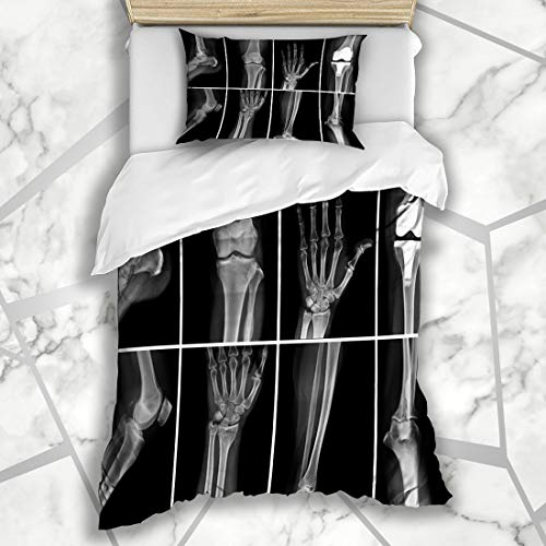 Ahawoso Duvet Cover Sets Twin 68X86 Body Ray Collage Many Xrays Very Good Surgery Science Radiology Bone Hand Arm Knee Design Microfiber Bedding with 1 Pillow Shams ()