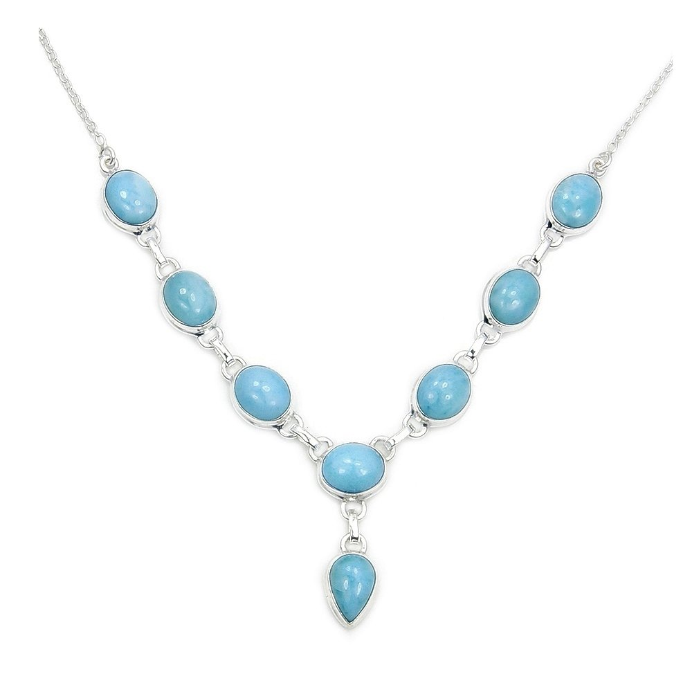 Sterling Silver Genuine Dominican Larimar Y-Necklace by The Silver Plaza