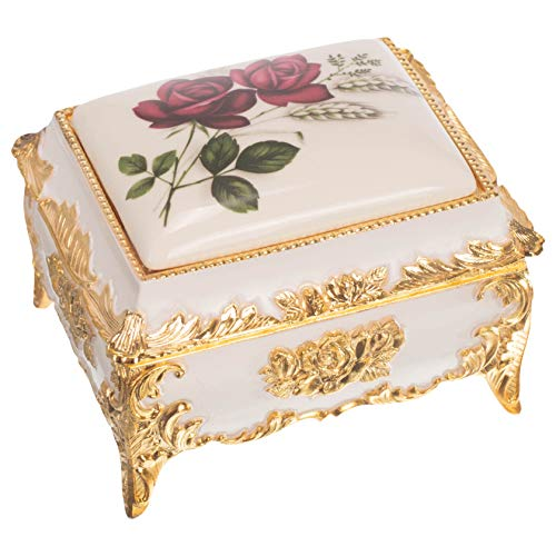Burgundy Floral Goldtone Oblong Shaped Metal Music Box Plays Lara's Theme