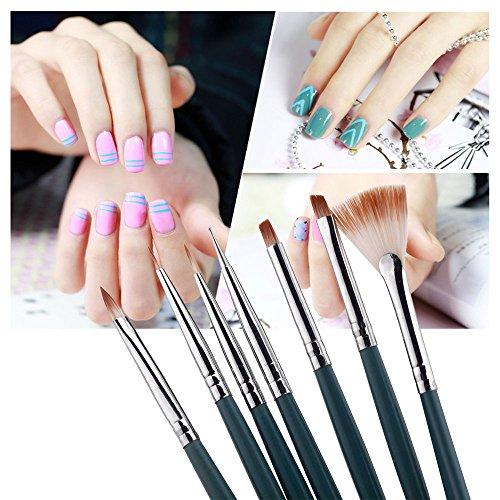 Nail Art Brushes - Nail Art Brush - Thin Nail Art Brush - 7pcs/Set DIY Nail Art Brushes Professional Nail Art Design Painting Pen Brush Tool Nail Polish UV Gel Brush Set - Nail Art Brush Set]()