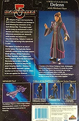 Babylon 5 Ambassador DeLenn Figure in Purple Robe with Minbari Flyer by Babylon 5