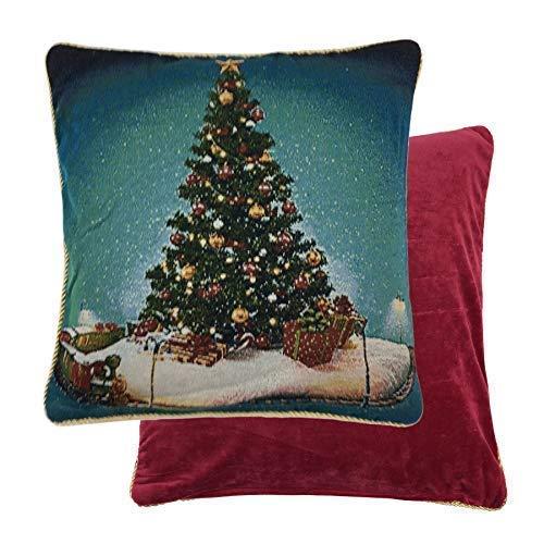 Cojín de chenilla con relleno de árbol de Navidad, color rojo ...