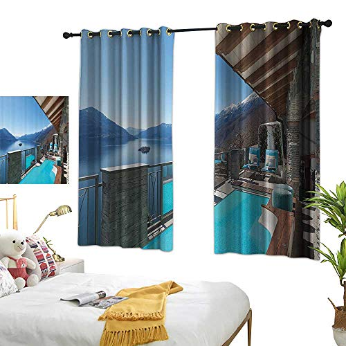 Warm Family Light Luxury high-end Curtains House Decor Collection Terrace with Pool and Lake View Luxury House Balcony Leisure Dream Vacation Image Pattern Privacy Protection 55