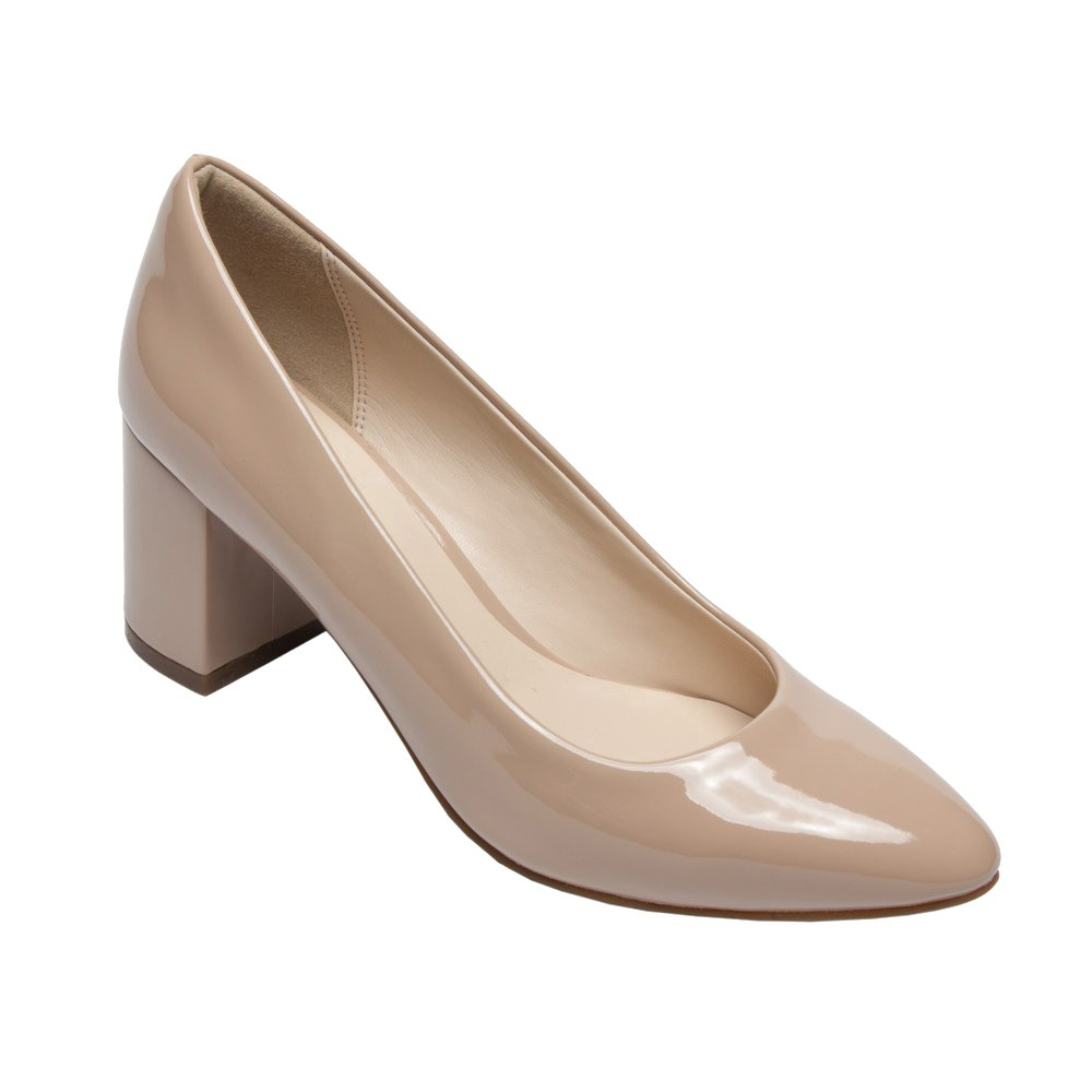 PIC/PAY Fairy - Women's Contemporary Patent Pumps - Almond Toe Leather Comfortable Block High Heel Shoes B07533S937 5.5 B(M) US|Nude Patent