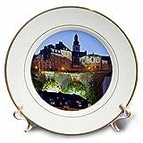 3D Rose Luxembourg City Ground-Alzette River-Eu40 Wbi0035-Walter Bibikow Porcelain Plate, 8''