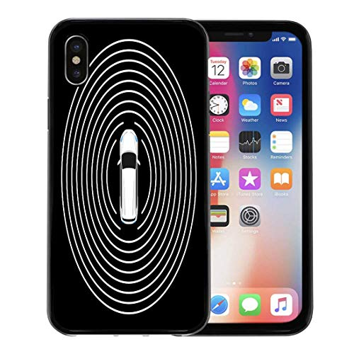 Emvency Phone Case for Apple iPhone Xs case,Autonomous Car Top View Self Driving Vehicle Radar Sensing System Driverless Automobile on Road for iPhone X Case,Rubber Border Protective Case,Black