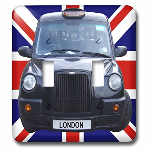 3dRose lsp_113050_2 London Black Taxi Cab on British Flag Union Jack Background Uk Great Britain United Kingdom Travel Double Toggle Switch by 3dRose