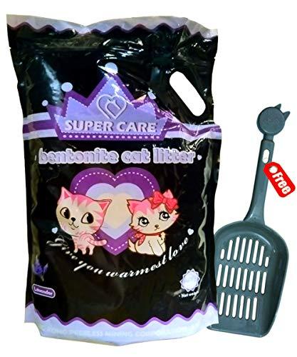 Go Pet® Super Care Fresh Scented Bentonite Eco-Friendly Cat Litter with Free Litter Scooper- (Lavender, 5L)