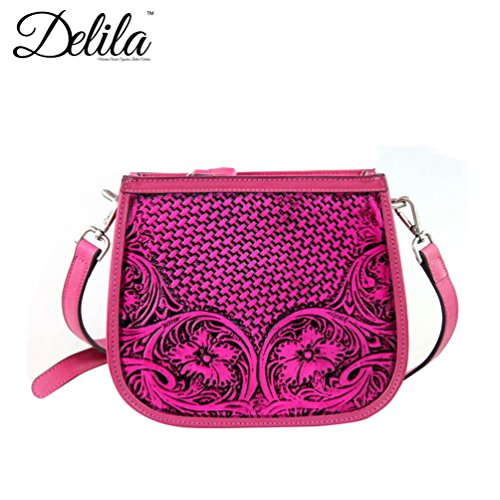 (Delila by Montana West 100% Genuine Leather Messenger - Hot Pink LEA-6015)