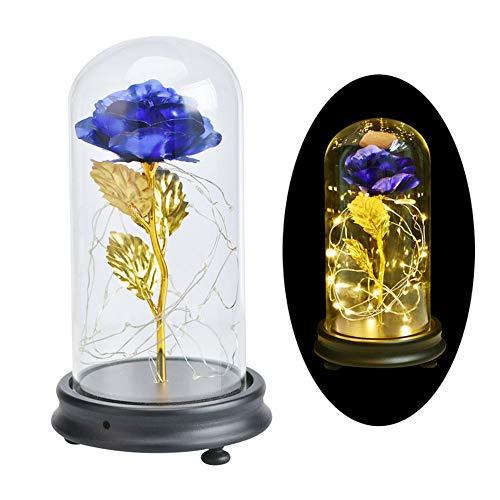 DOTKV Galaxy Rose Glass Rose Flower Forever Rose 24k Blue Rose