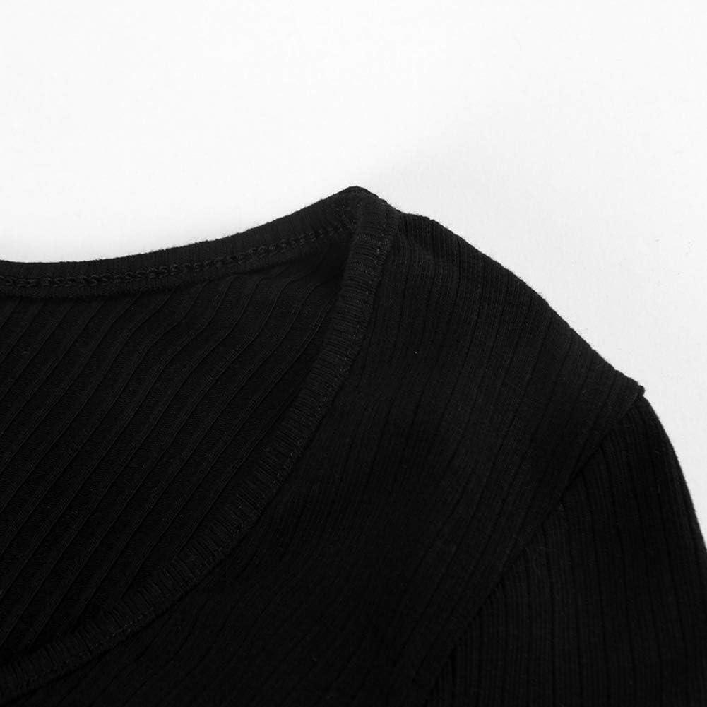 PALINDA Womens Deep V Neck Long Sleeve Bodysuit Ribbed Knit Stretchy Thong Bodysuit Tops