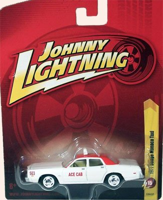 1977 DODGE MONACO TAXI (White & Red Ace Cab), Johnny Lightning 2011 Release 15 diecast