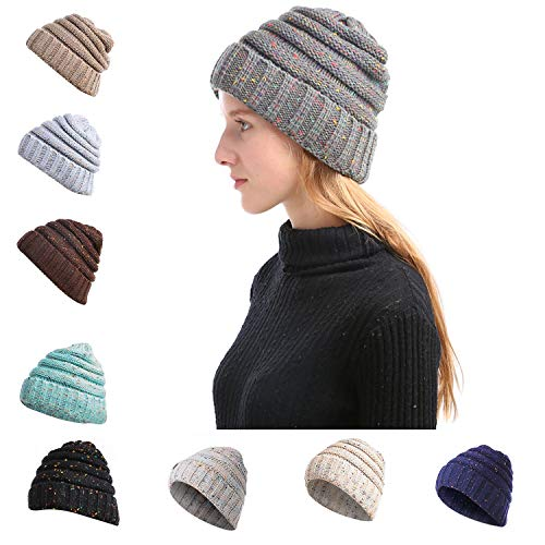 HapeDeer Women Colorfull Beanie Tail Hats Ponytail Soft Stretch Cable Knit Chunky Skull Cap