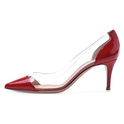 e8c8e760bbc16 Amazon.com: KJJDE Premium Women's High Heel T-080 PVC Stitching ...