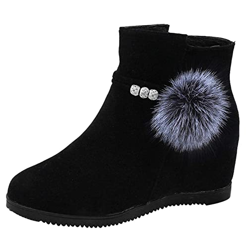 Amazon.com | Fashion99 Martin Boots Women Suede Hairball Round Toe Shoes Pure Color Zipper | Shoes