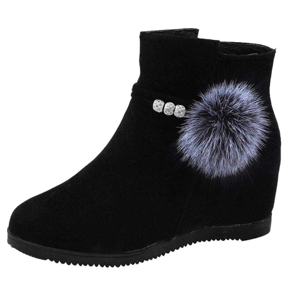 Clearance for Shoes,AIMTOPPY Women Suede Hairball Round Toe Wedges Shoes Pure Color Zipper Martin Boots