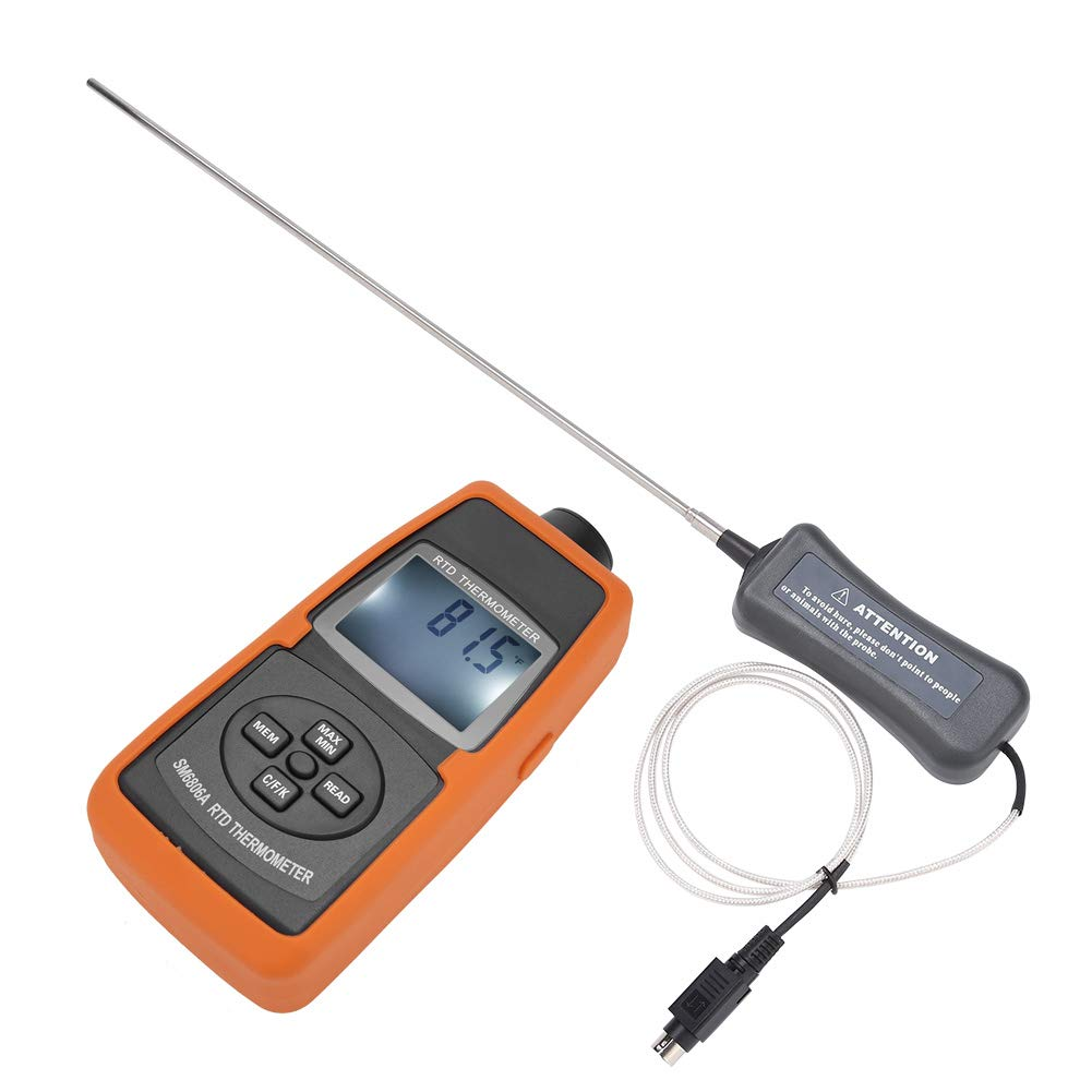 Akozon Thermometer SM6806A Handheld Digital Platinum Resistance Thermometer Industrial RTD Temperature Tester -200~600℃