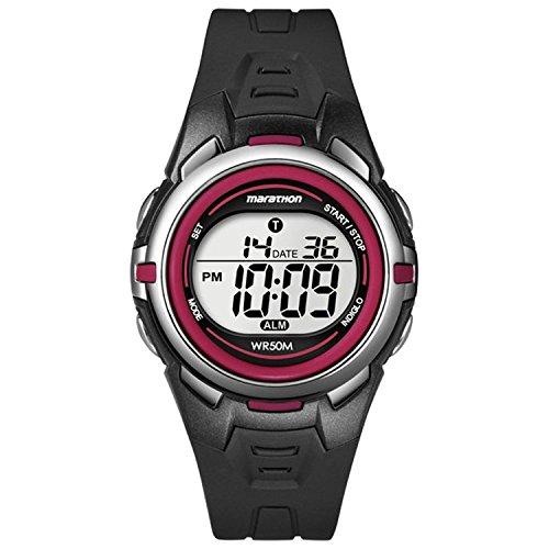 Timex Sport Marathon Chronograph ~ Black/Red Watch - T 5K363 4E with Stop Watch