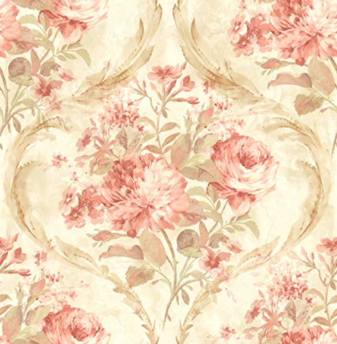 Floral Victorian Damask Wallpaper in Rose Gold Green Cream Double ()