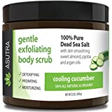 "ASUTRA Organic Exfoliating Body Scrub -""COOLING CUCUMBER"" - 100% Pure Dead Sea Salt Scrub/Ultra Hydrating & Moisturizing with SKIN SMOOTHING Jojoba, Sweet Almond & Argan Oils - 12oz"