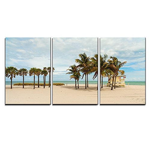 """Wall26 - 3 Piece Canvas Wall Art - Beautiful Crandon Park Beach located in Key Biscayne in Miami. - Modern Home Decor Stretched and Framed Ready to Hang - 16""""x24""""x3 Panels"""