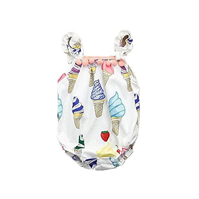 Amazon.com: molyveva bebé niña verano sin mangas Pelele ...