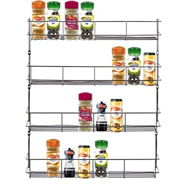VonShef - 4 Tier Spice Rack Chrome Plated for Herbs and Spices - (Easy Fix) Suitable for Wall Mount or Inside Cupboard