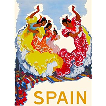 A SLICE IN TIME Spain Spanish Dancers European Europe Vintage Travel Advertisement Art Collectible Wall Decor Poster Print. Measures 10 x 13.5 inches