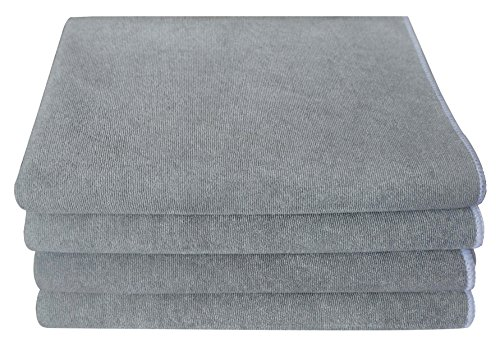 Gryeer Microfiber Kitchen Towels - Highly Absorbent, Thick and Lint Free Dish Towels - Great for Cooking in Kitchen, Household Cleaning, Bathroom and Garage - 20 x 28 Inch, 4 Pack, Gray
