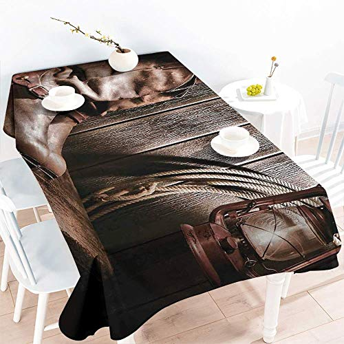 AndyTours Tablecloth for Kids/Childrens,Western,Dallas Cowboys and Lantern on a Bench in Vintage Ranch Nostalgic Folkloric Photograph,High-end Durable Creative Home,W60X102L,Brown