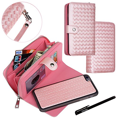 Urvoix iPhone 6 / iPhone 6S Case, Woven Skin Leather Zipper Wallet Detachable/Separable Magnetic Back Shell Cover w/ Hand Strap, Card Slots for iPhone6/6S (4.7 Screen) Pink