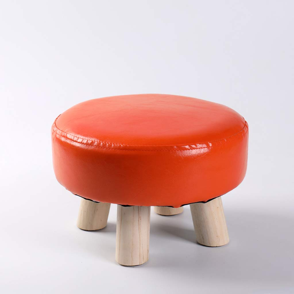 Wooden Childrens Stool Round Chair Steps Kids Stool Modern Home Waterproof Leather Stool Japanese Style Living Room Sofa Bench High Load Capacity Adult Bench Shoe Bench 29 /× 20CM A