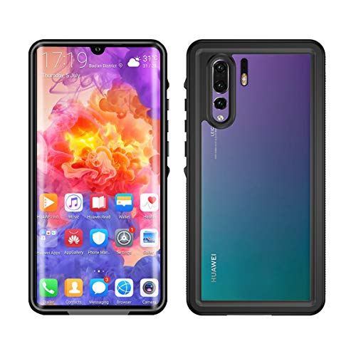 AICEDA for Huawei P30 Pro Waterproof Case, Super Slim Thin Light [ All Round Protective] Full-Sealed IPX-6 IP68 Certified Shockproof Dust/Snow Proof Case Cover for Huawei P30 Pro Black