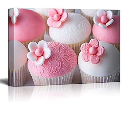 Canvas Prints Wall Art - Beautiful Pink Wedding Cupcakes | Modern Wall Decor/Home Art Stretched Gallery Wraps Giclee Print & Wood Framed. Ready to Hang - 12