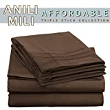 Anili Mili's Triple Stitch Embroidery Affordable 3 PC Bed Sheet Set - Twin Size, Chocolate Brown