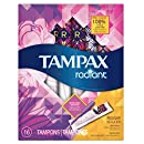 Tampax Radiant Regular Tampons with Plastic Applicator, Unscented, 16 Count (Packaging May Vary)