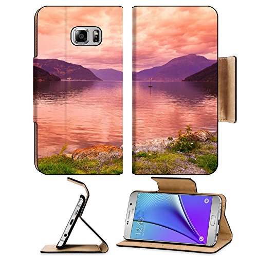 Liili Premium Samsung Galaxy Note 5 Flip Pu Leather Wallet Case Sunset In Fjord Hardanger Norway Nature And Travel Background Note5 Image Id 39021222