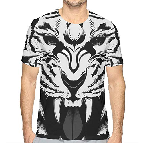 Men's Boys 3D Print Fierce Tiger King Black White T-Shirts, Short Sleeve Crewneck Baseball Shirts Fashion Fit Workwear for Game Training Workout, Quick Dry/Moisture Wicking -