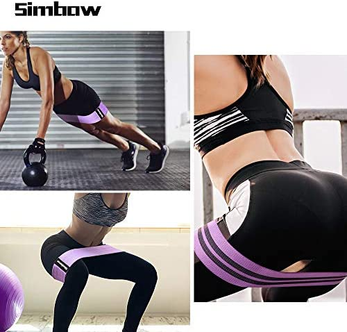 Simbow Resistance Bands, [2020 Upgrade] Elastic Workout Bands for Leg and Butt, Anti-Slip & Roll Loops Exercise Bands for Hip Squat Glute Training Sport Fitness Band, Pack of 3 5