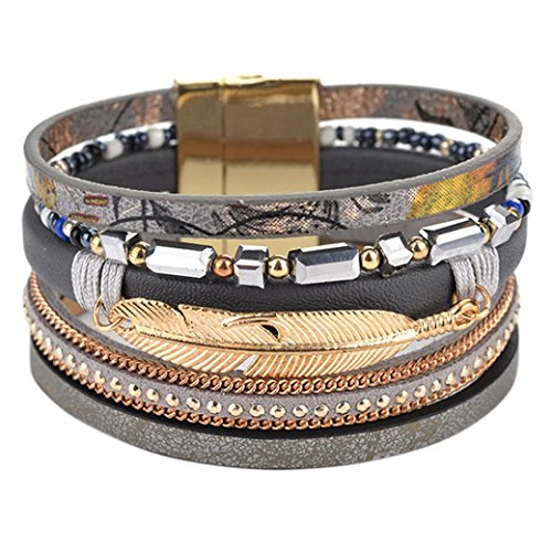 Peace Wrap - Molyveva Women Girl Braided Wrap Bracelet Alloy Peace Feather Leather Cuff Bangle with Magnetic Buckle (Gray)