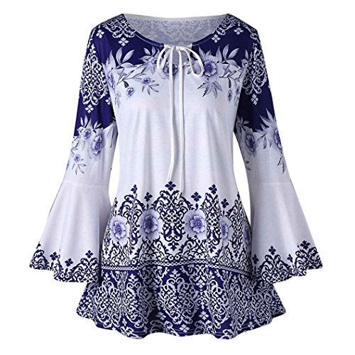 Womens Tops Sale KIKOY Ladies Plus Size Printed Flare Sleeve Blouses T-Shirt