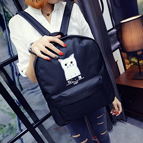 Mens Clearance Sb (YJYdada Fashion Cat Neutral School Rucksack Bag Gripesack Backpack Handbag Bookbag (Black))